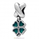925 Sterling Silver Green Four-leaf Clover Dangle Charm Bead