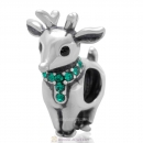 Antique Sterling Silver Reindeer Bead with Emerald Australian Crystal
