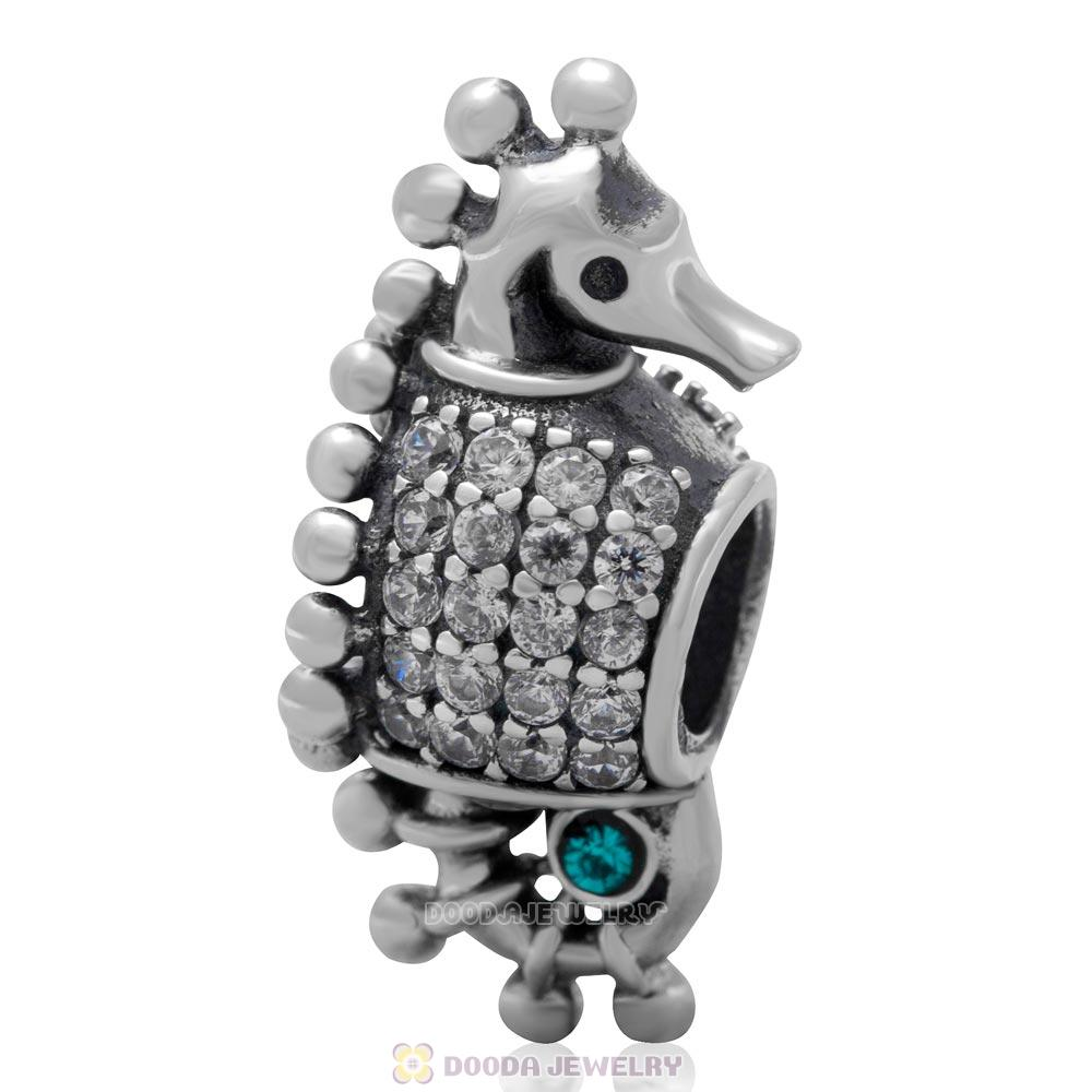 Sterling Silver CZ Pave Tropical Seahorse Bead with Blue Zircon Austrian Crystal