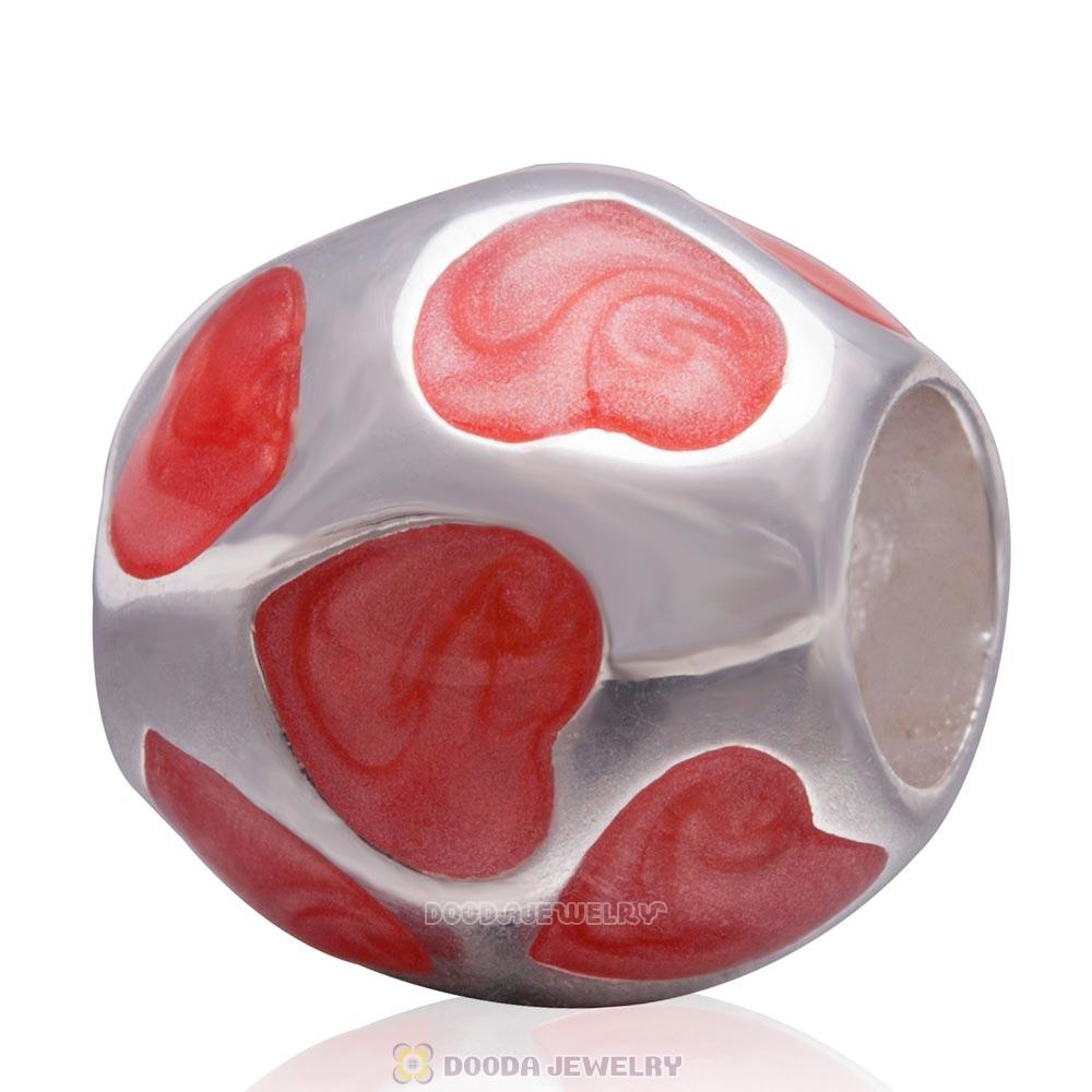 Enamel Orange Heart 925 Sterling Silver European Charm Bead