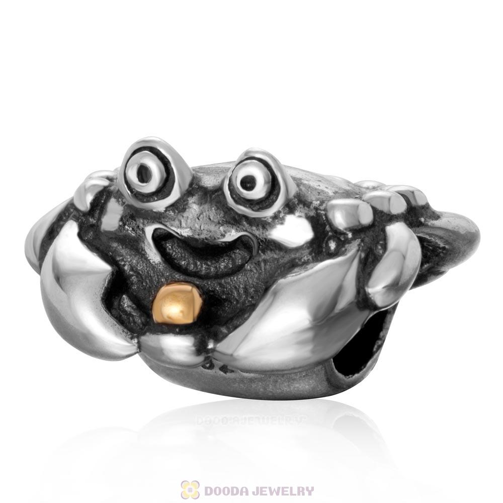 Happy Crab Antique Sterling Silver Gold Plated Bead