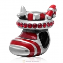 Christmas Stocking Charm Sterling Silver Red Enamel Bead with Lt Siam Australian Crystal