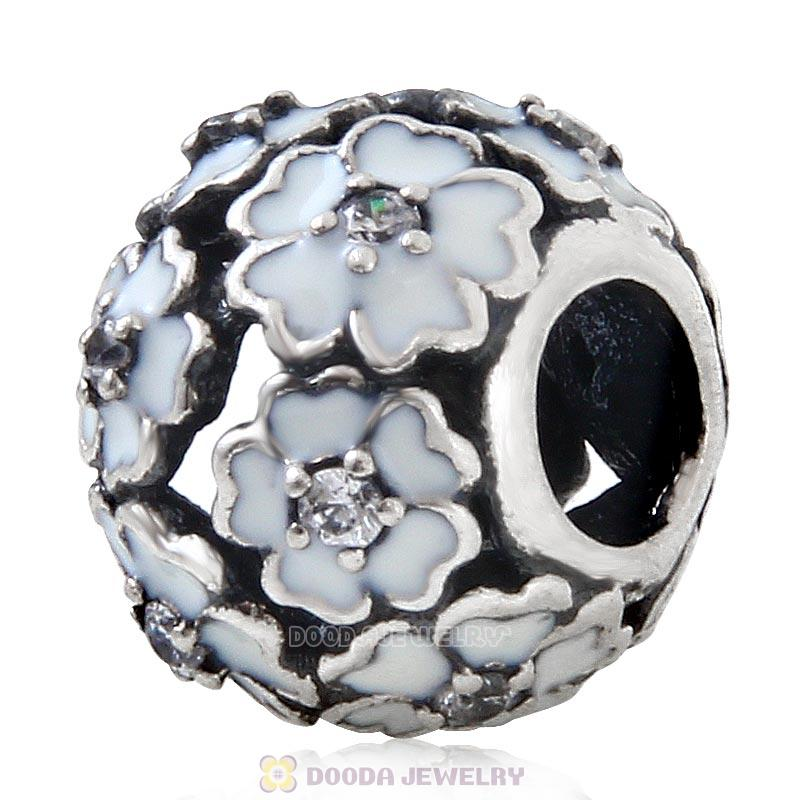 925 Sterling Silver Primrose Meadow with White Enamel White CZ Charm Bead