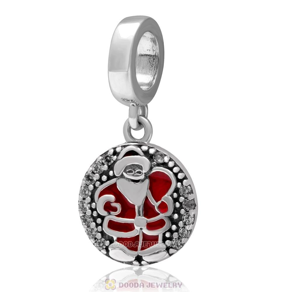 925 Sterling Silver Dangle Christmas Santa Claus Charm with Clear Zircon Stones