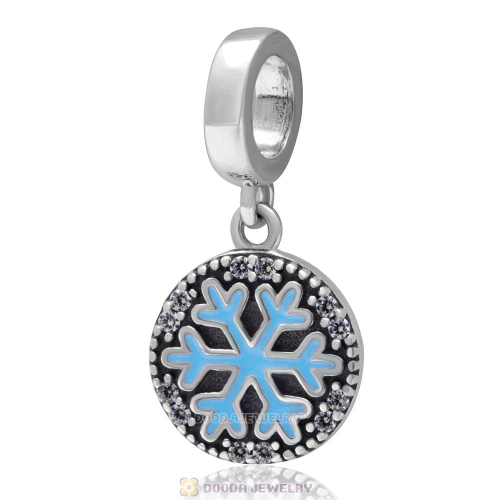 925 Sterling Silver Dangle Christmas Snowflake Charm with Clear Zircon Stones