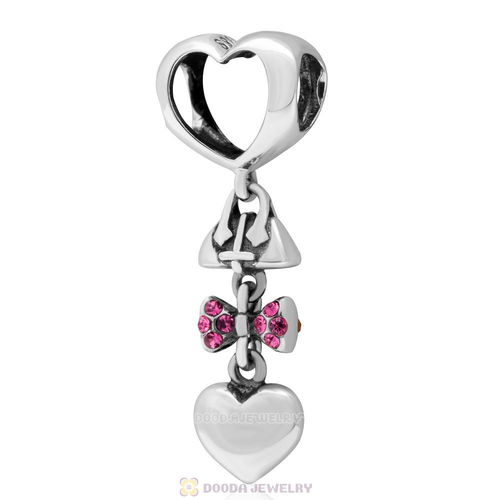 925 Sterling Silver Fashionably Tied Charm with Rose Austrian Crystals