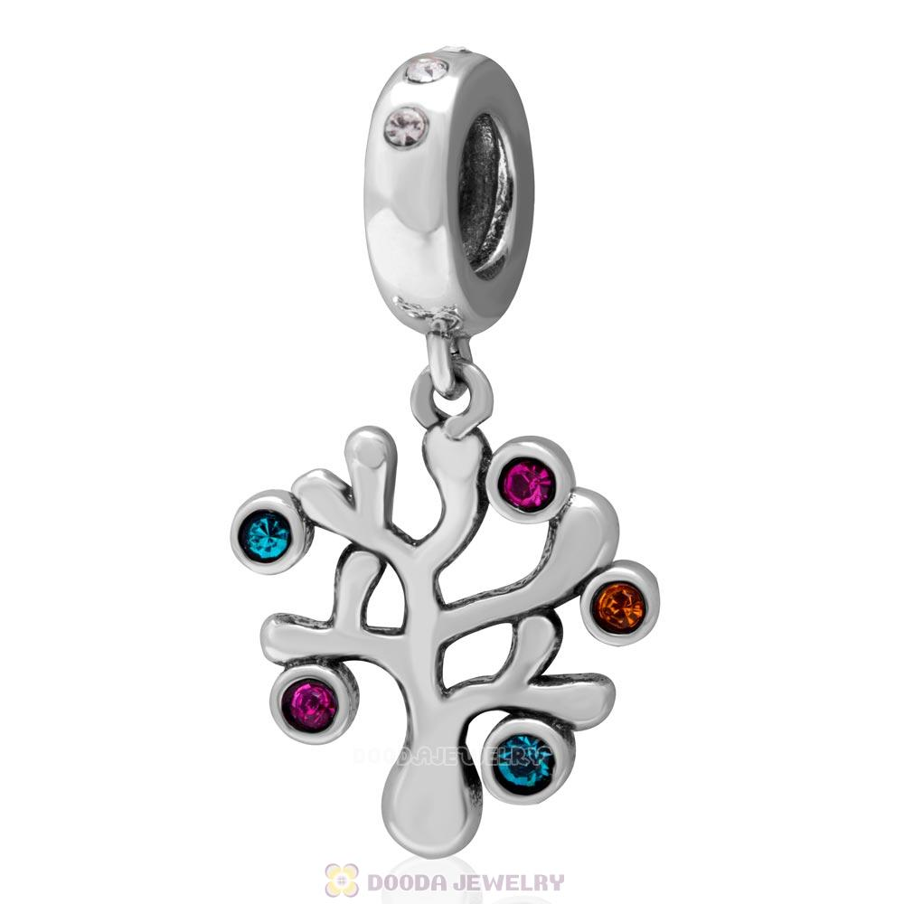 925 Sterling Silver Family Tree Dangle Charm with Colorful Crystal