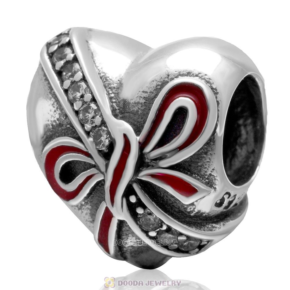 925 Sterling Silver Present with Red Bow Heart Charm Bead with Zircon Stone