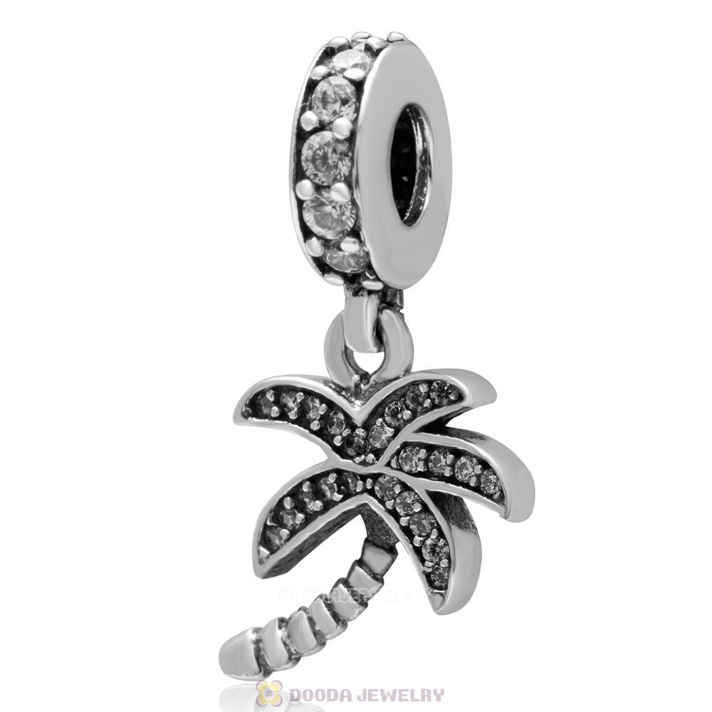 925 Sterling Silver Dangle Coconut Tree Charm with Clear Zircon Stone