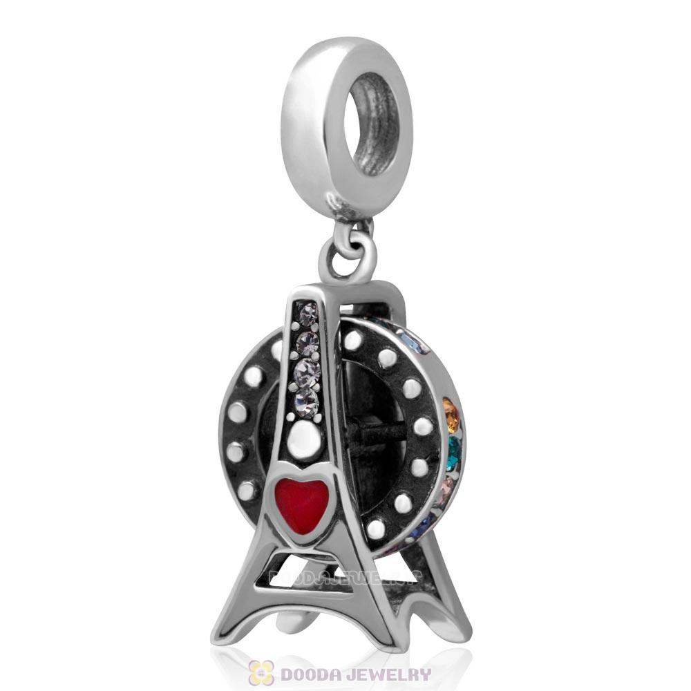 925 Sterling Silver Loves Ferris Wheel with Colorful Australian Crystal Charm