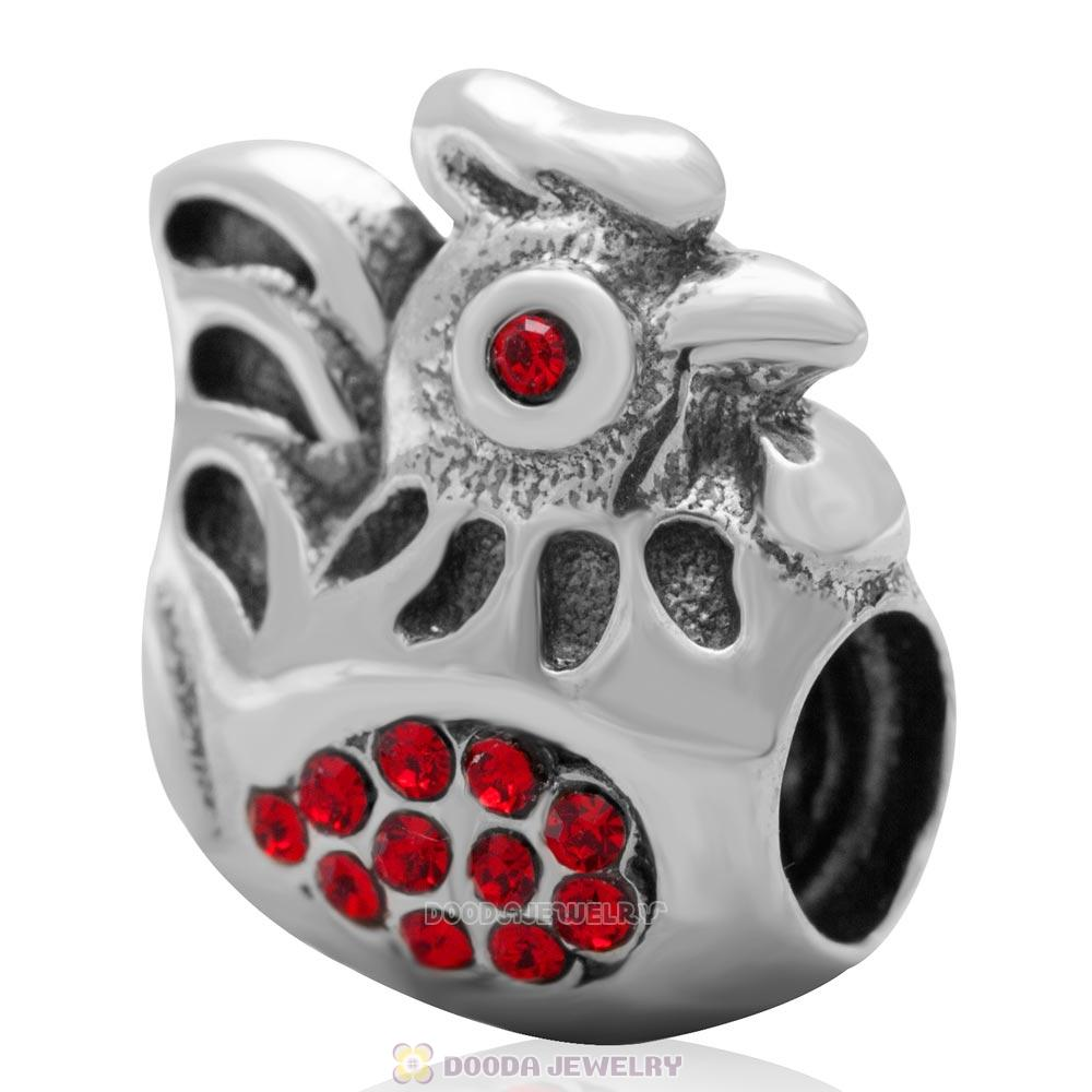 925 Sterling Silver Animal Rooster with Lt Siam Australian Crystals Bead