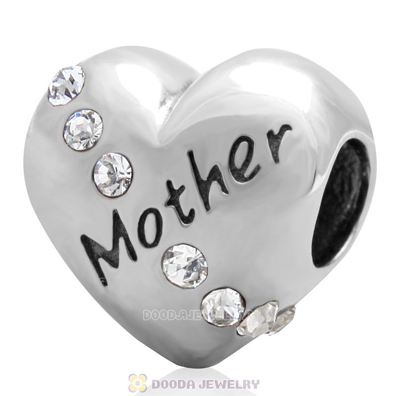 925 Sterling Silver Clear Crystal Mother Heart Love Bead