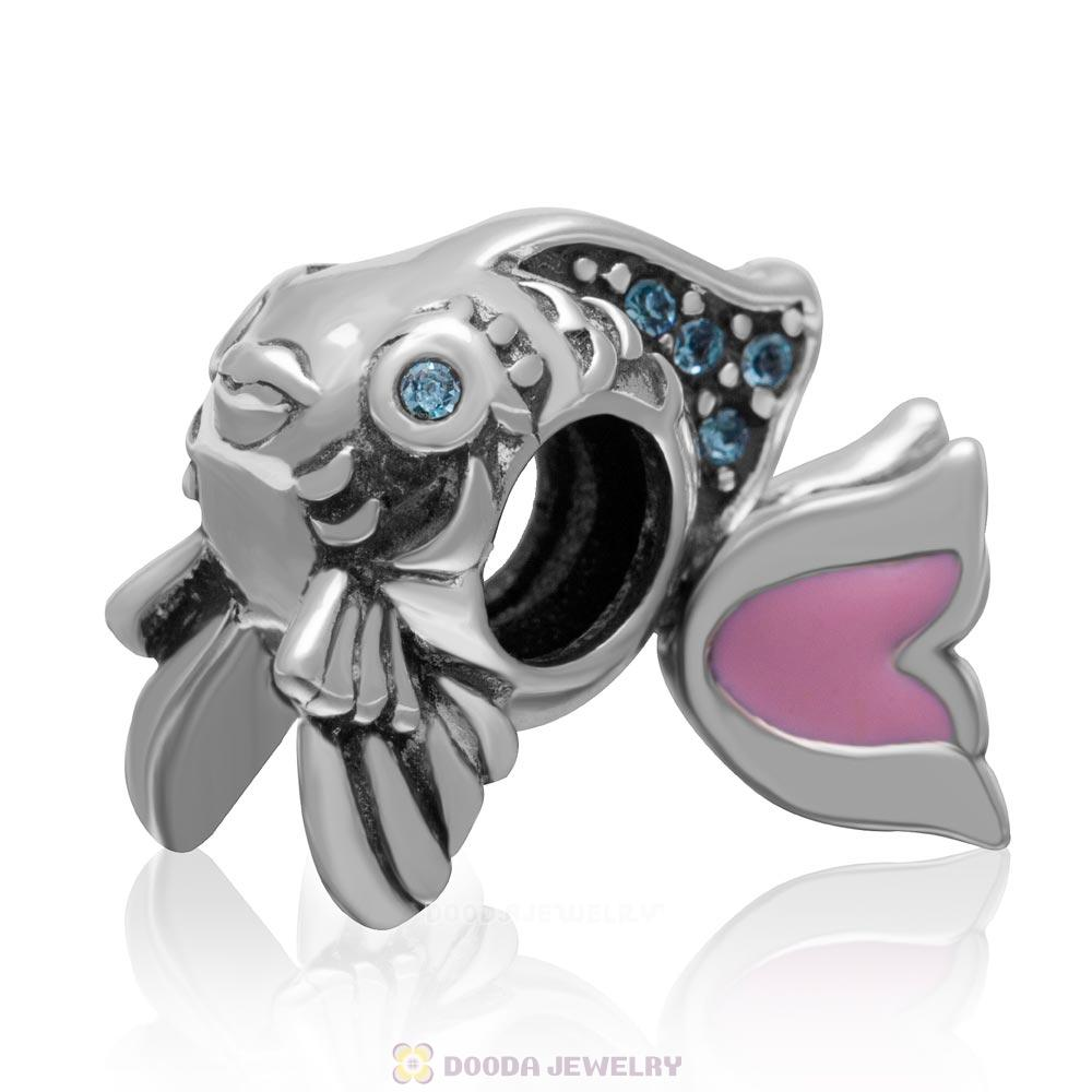 Cute Fish Charm with Aquamarine Crystal and Pink Movable Tail in 925 Sterling Silver