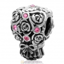 925 Sterling Silver Wedding Bouquet Bead Rose Crystal Charm