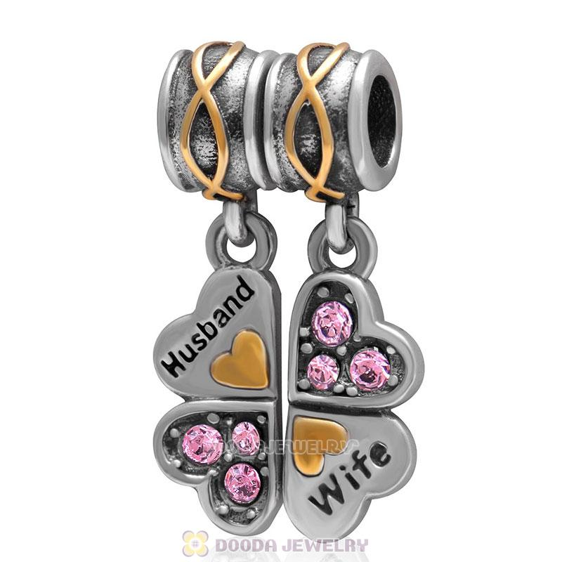 925 Sterling Silver Wife Husband Lt Rose Crystal Clover Dangle Bead Charm