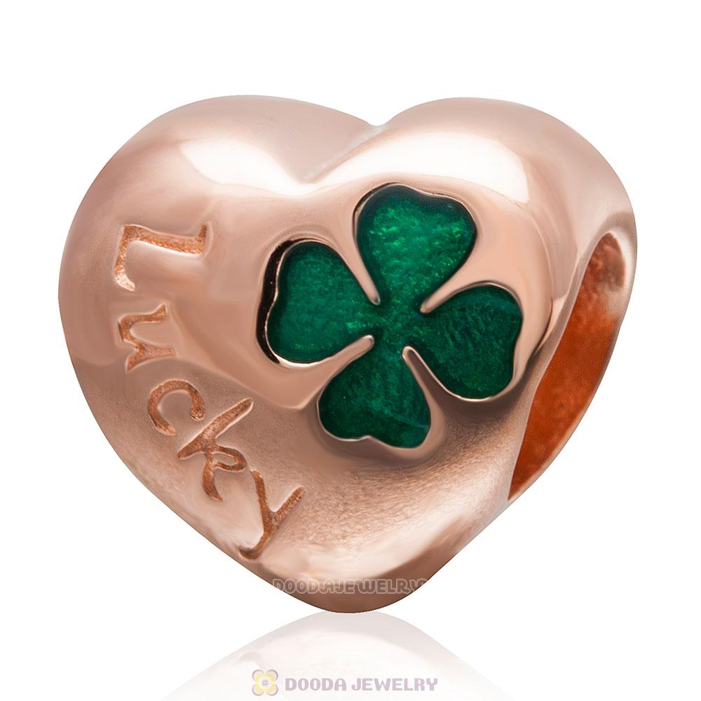 925 Sterling Silver Rose Gold Charm Lucky Clover Heart Bead