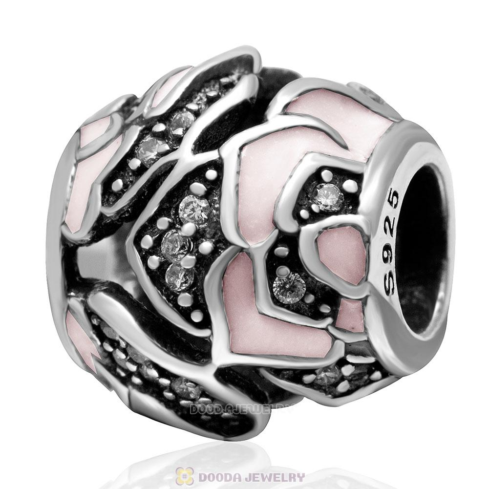 925 Sterling Silver Delicate Pink Rose with Clear CZ Charm Bead