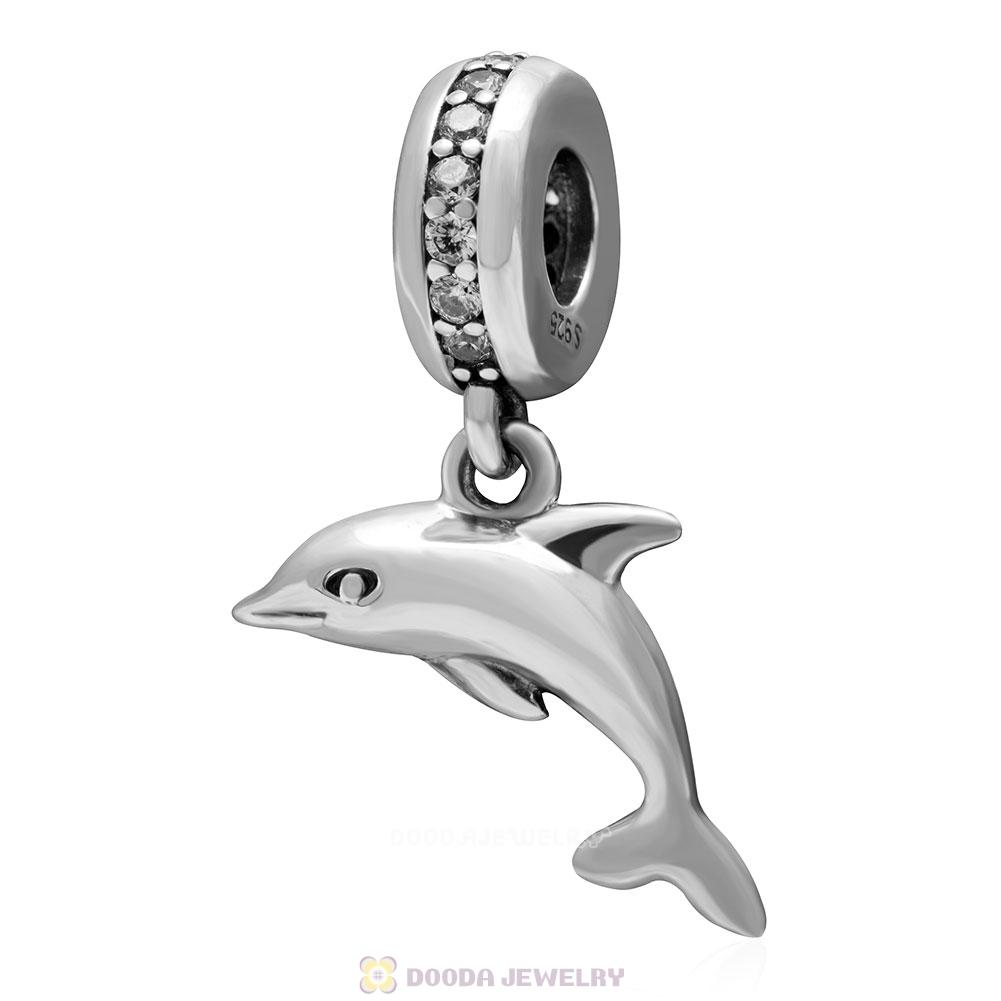 925 Sterling Silver Playful Dolphin with Clear CZ Dangle Bead