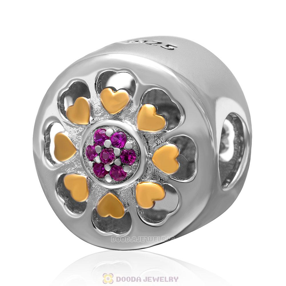 Fuchsia Stone 925 Sterling Silver with Gold Plated Love Charm Bead