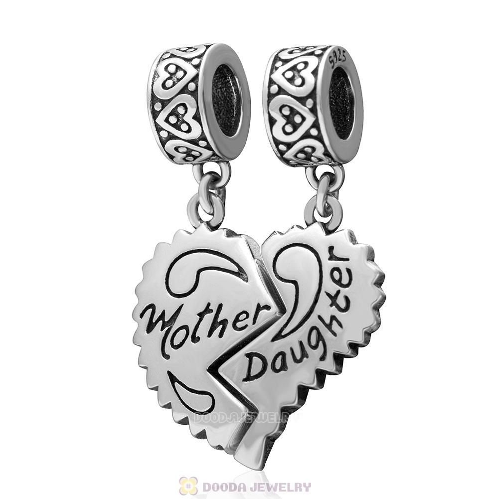Mother Daughter Separate Heart 925 Sterling Silver Dangle Charms