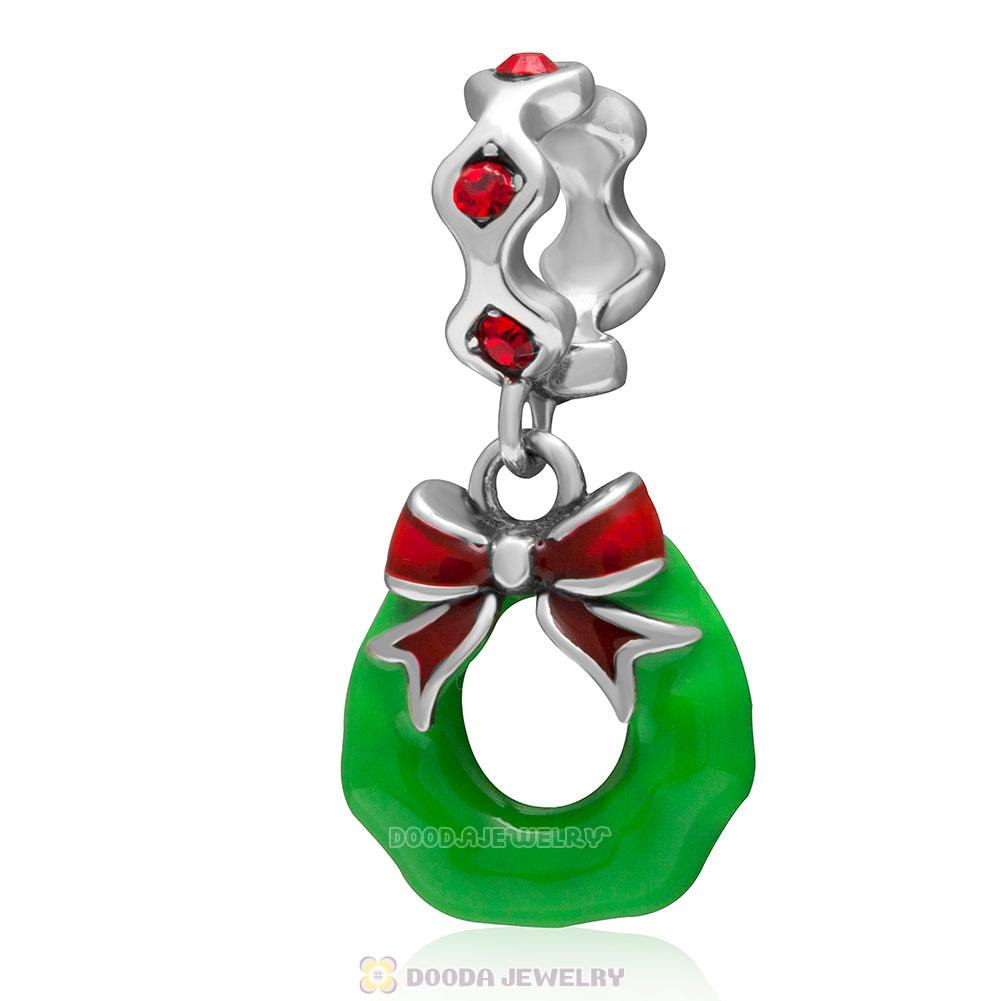 925 Sterling Silver Holiday Wreath Enamel Charm Pendant