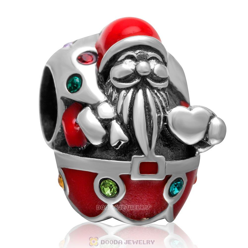 925 Sterling Silver Santa Carry with Gift Charm with Colorful Crystal