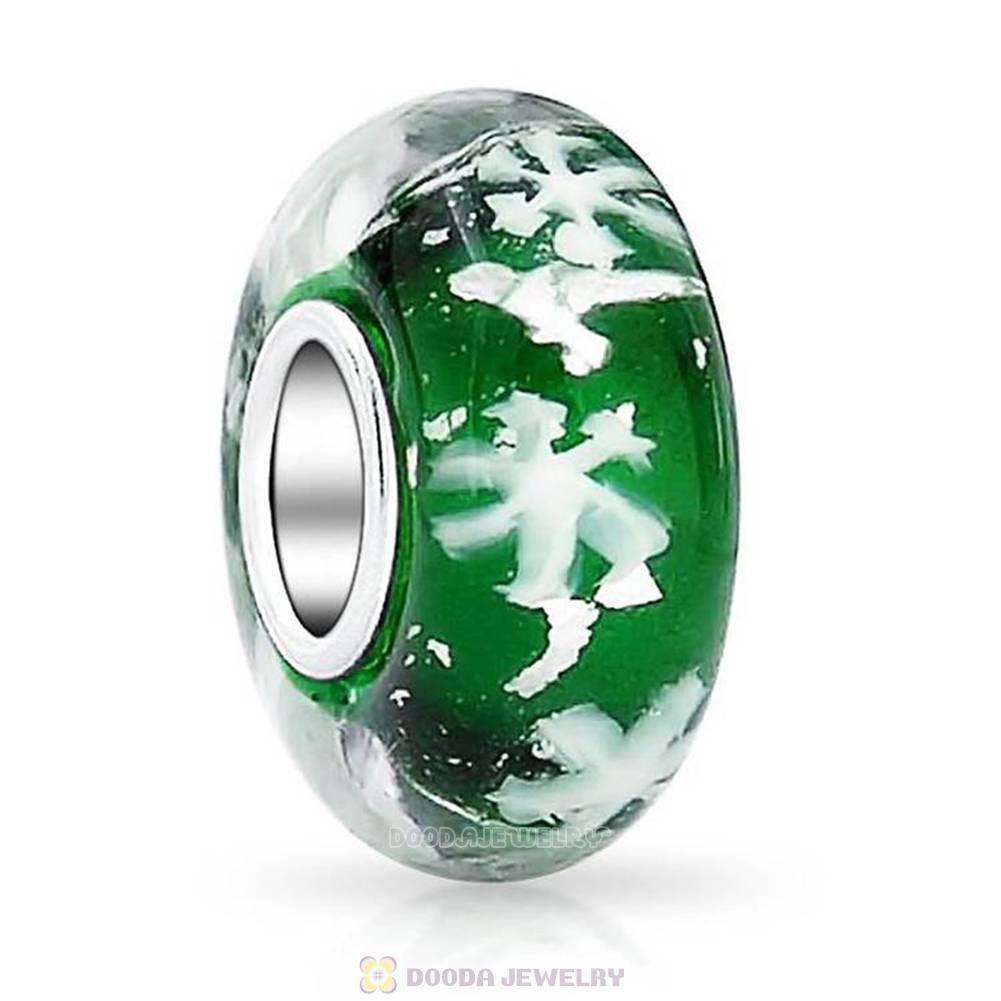 Green Snowflake Glass Beads with Silver Shatter fit European Largehole Jewelry Bracelet