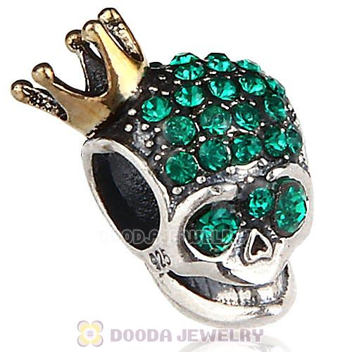 Gold Plated Crown Sterling Silver Skull Highness Bead with Emerald Austrian Crystal
