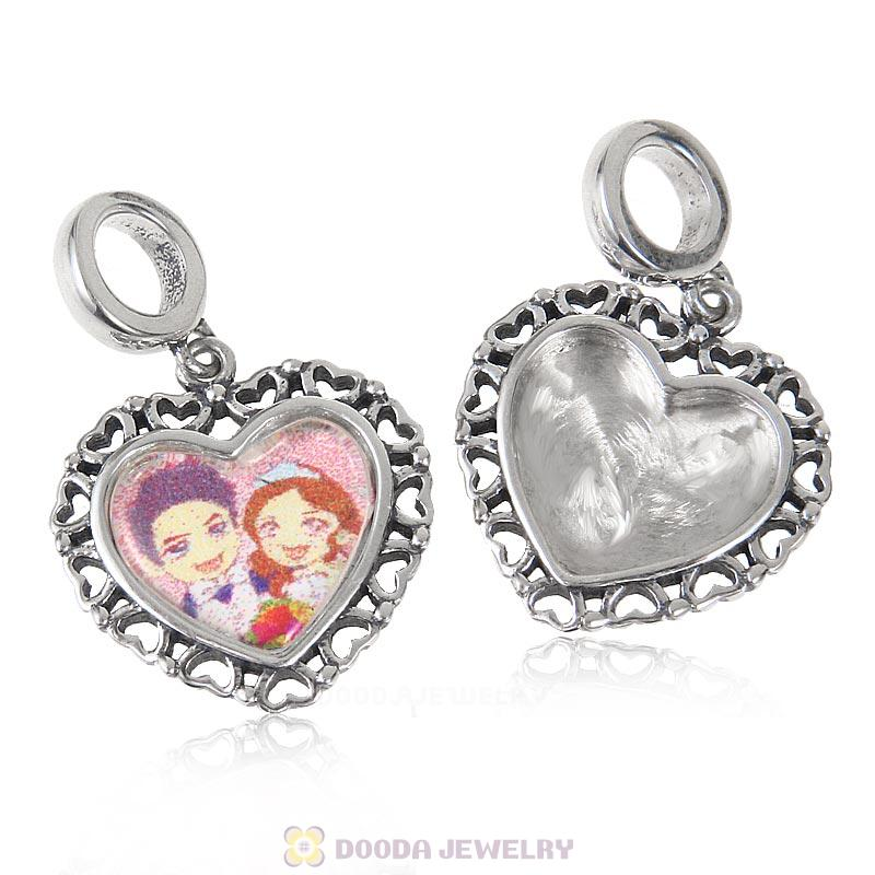Romance Wedding Lover 925 Sterling Silver Dangle Heart Personalized Photo Charm Bead