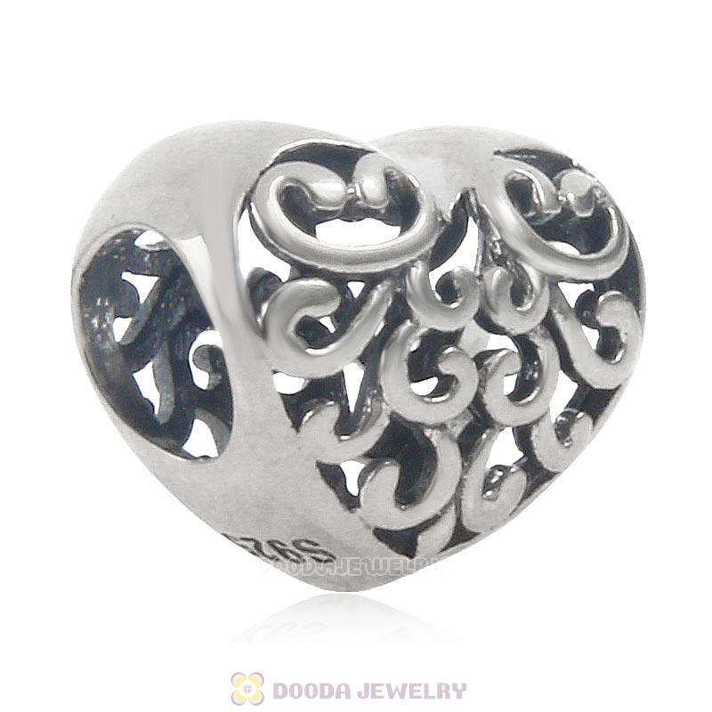 925 Sterling Silver Filigree Heart Charm Antique Style
