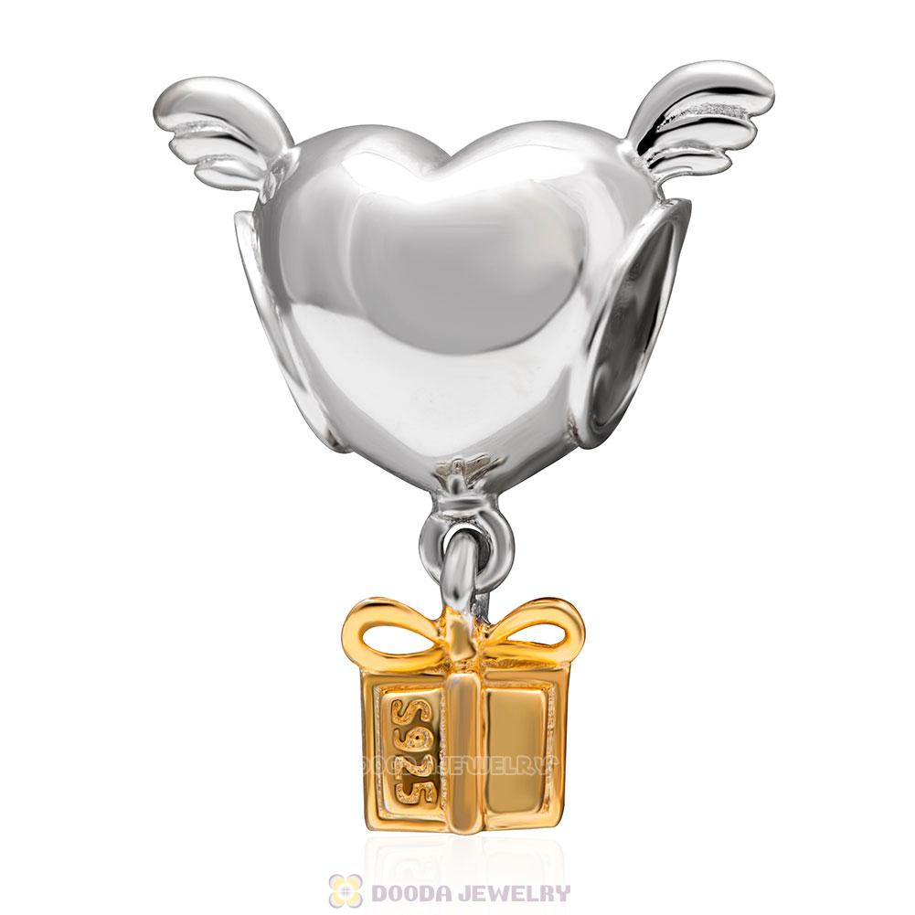 Heart with Wings Gold Plated Gift Charms
