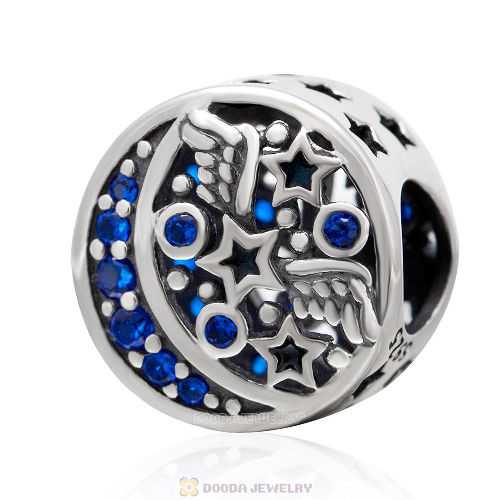Moon and Stars Charm Bead with Blue CZ