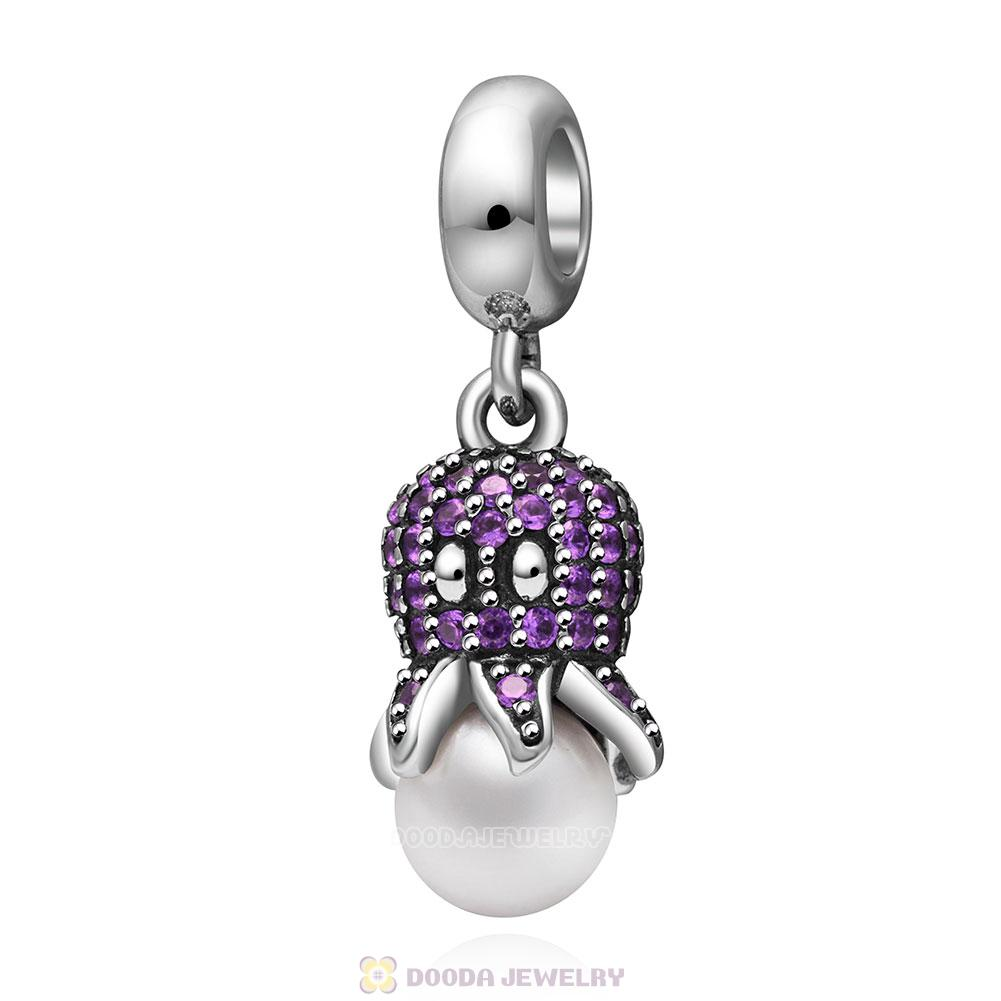 Cute Octopus Charm Pendant with Cubic Zirconia