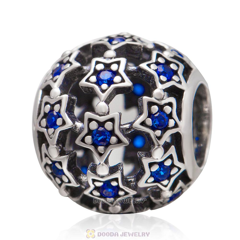Shimmering Star Charm Bead with Blue CZ