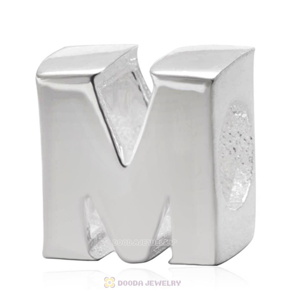 Letter M Beads 925 Sterling Silver Charms