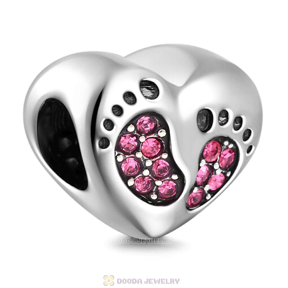 Baby Footprint Heart Charm Rose Crystal