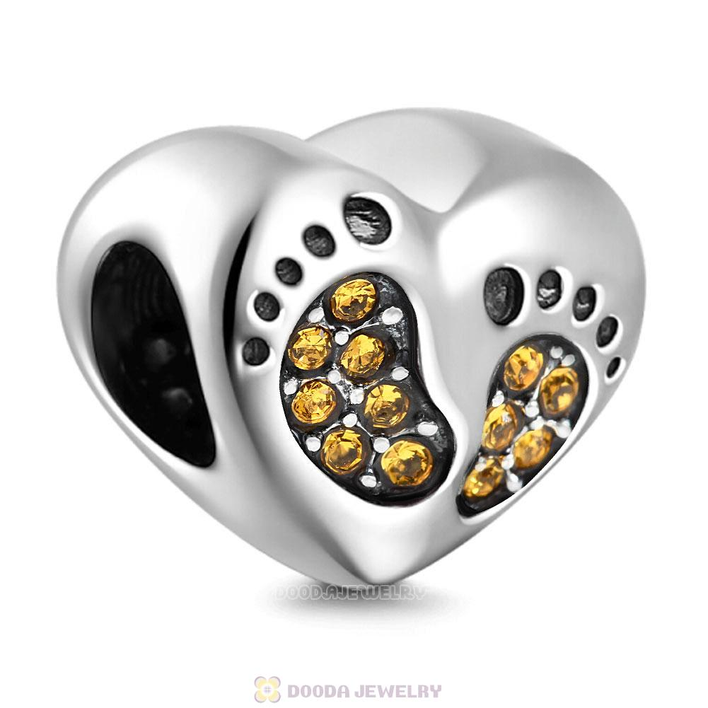 Baby Footprint Heart Charm Topaz Crystal