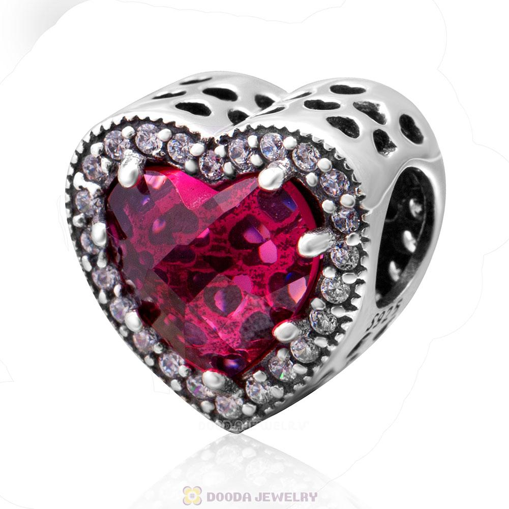 Radiant Hearts Charm with Cherry Red and Clear CZ