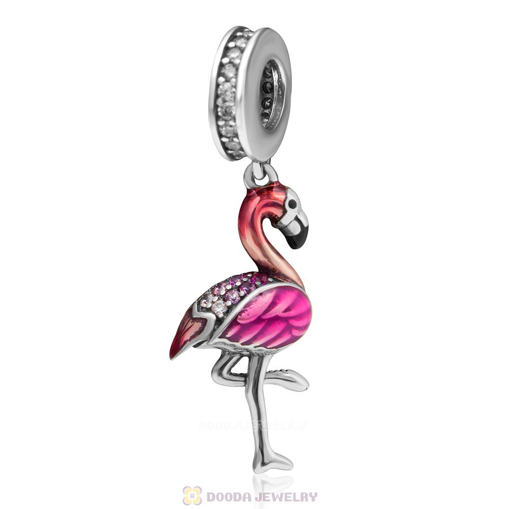Dangle Flamingo Dance Charms with Enamel