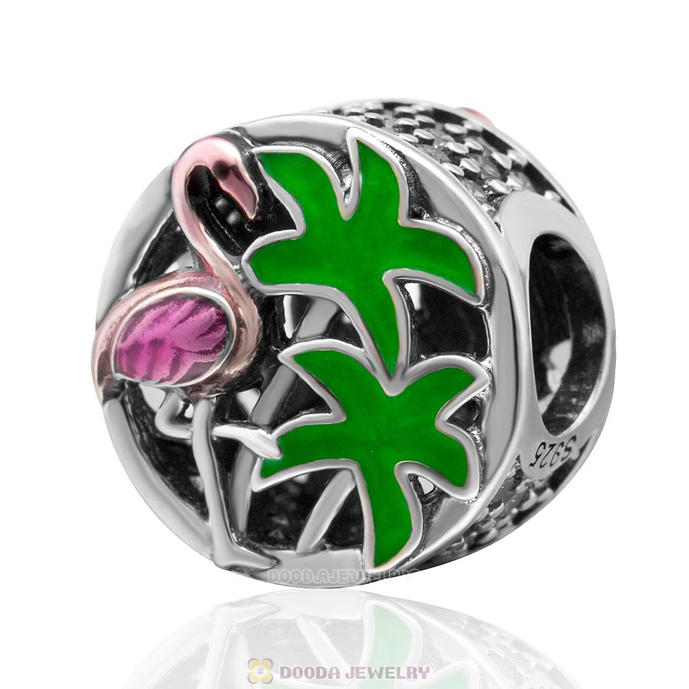 Tropical Flamingo Charm with Light Green CZ and Multi-Colored Enamel