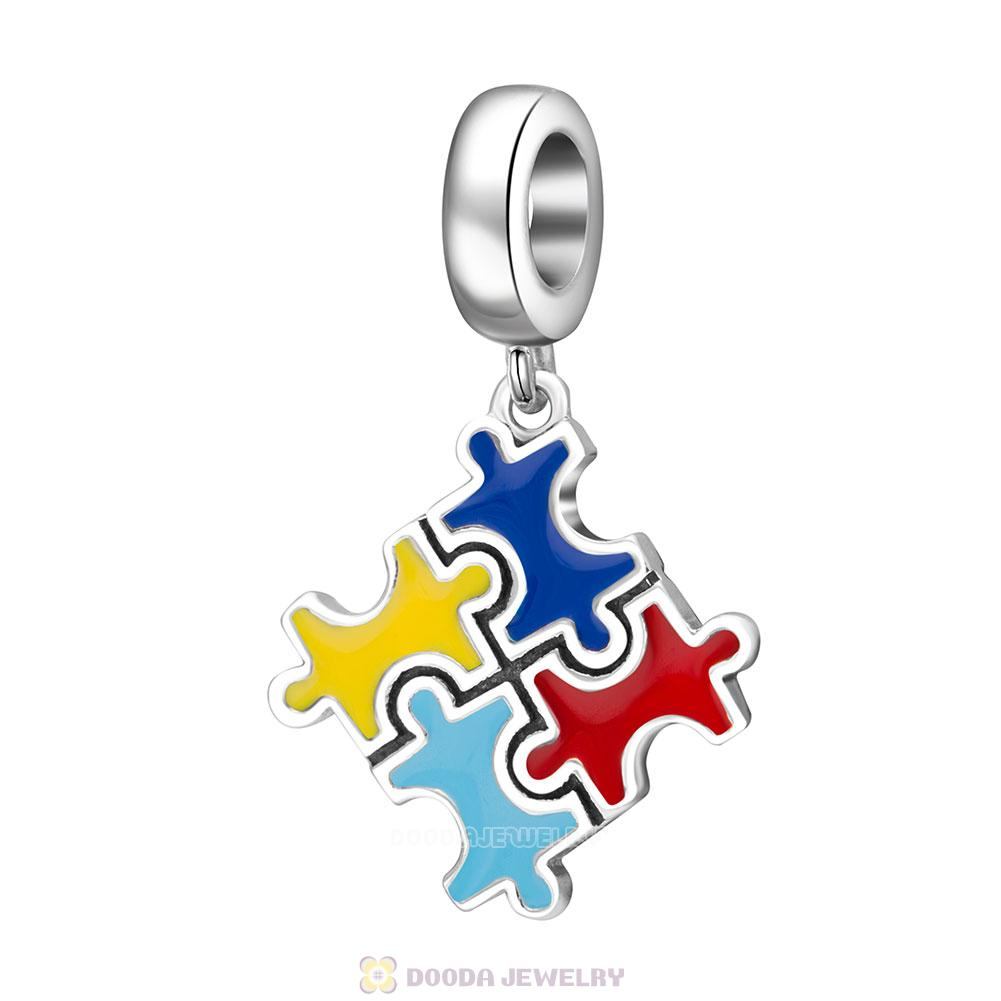 925 Sterling Silver Puzzle Piece with Enamel Charm