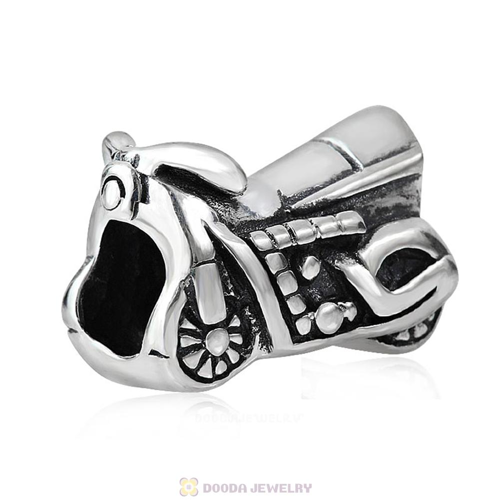 Antique 925 Sterling Silver Motorbicycle Charm Beads