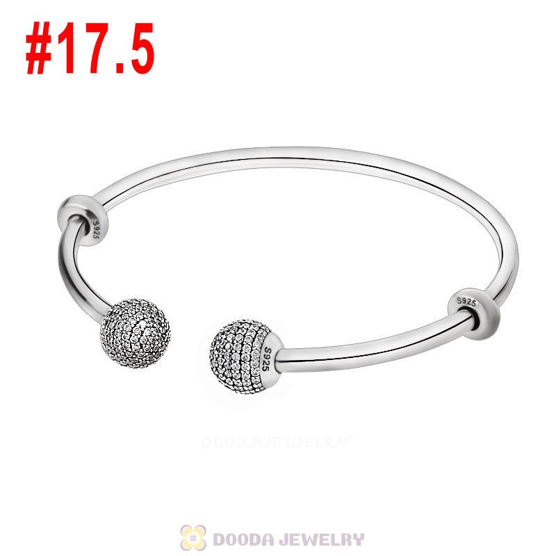 925 Sterling Silver Open Bangle Bracelet with Gemstone Ball