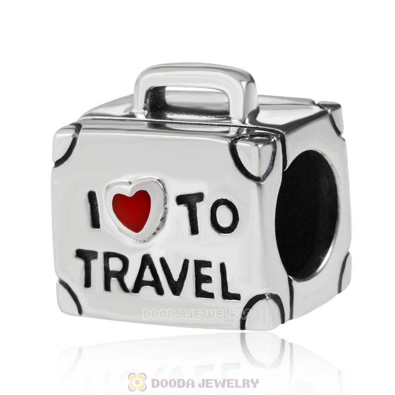 I Love to Travel 925 Sterling Silver Suitcase Bead with Red Enamel