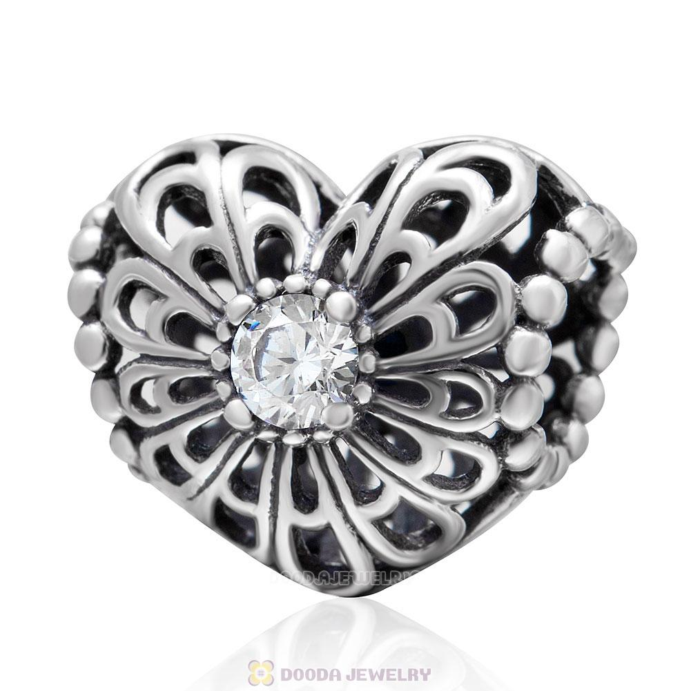 Open Heart Charm Bead with White CZ