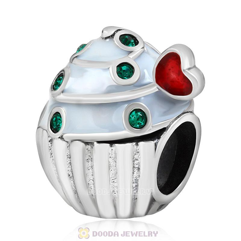 Heart Cupcake Charm Bead with Emerald Austrian Crystal