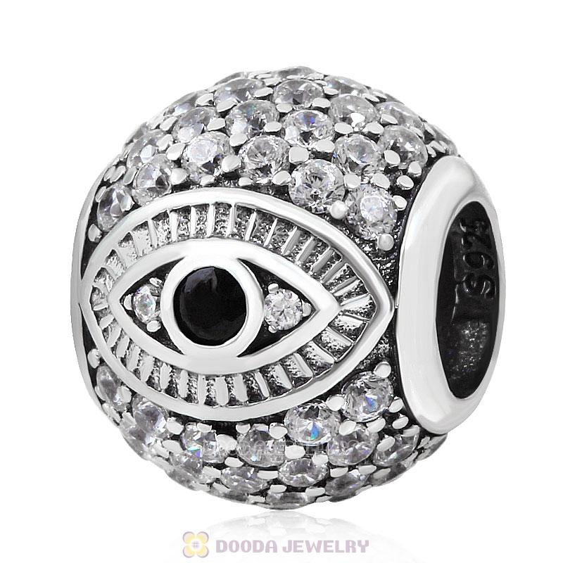 Eye of Horus Charm 925 Sterling Silver with Pave Zircon