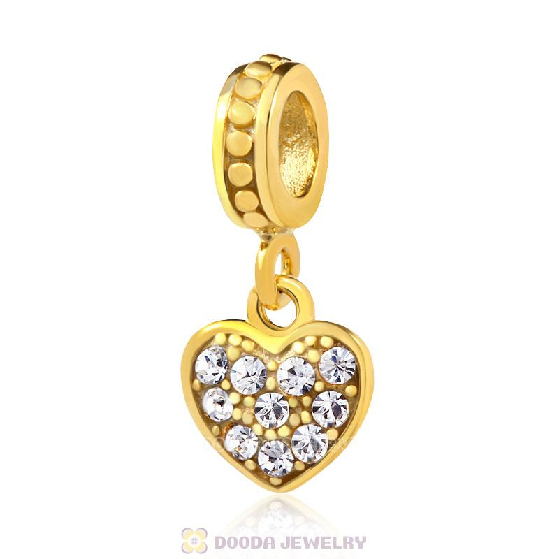 18K Gold Heart Dangle Charm with Clear Austrian Crystal