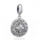 Zodiac Compass Charms Pendant 925 Sterling Silver with Clear CZ