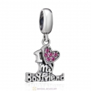 I Love my Boyfriend Charms 925 Sterling Silver with Rose Crystal